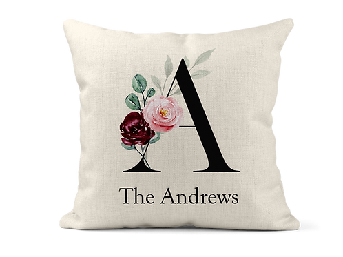 Floral Family Surname Cushion