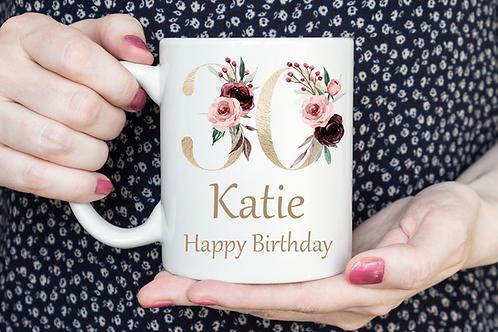 Gold Floral  Birthday Mug