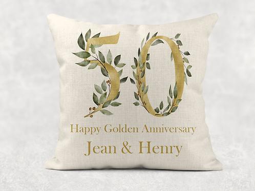 Golden Wedding Anniversary Cushion