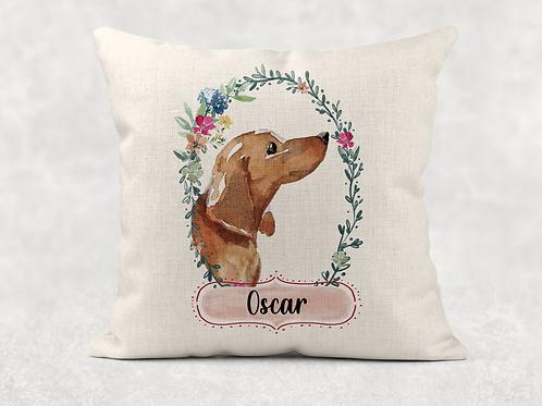 Floral dog name Cushion