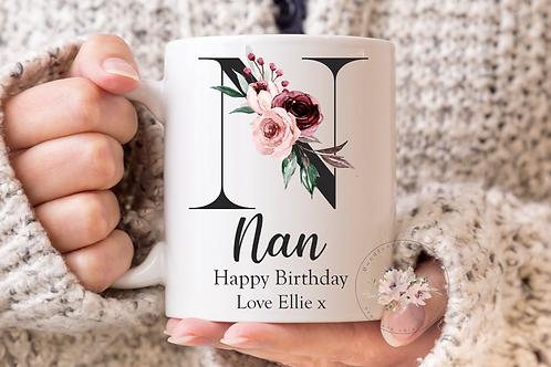 Floral Nan Birthday Mug