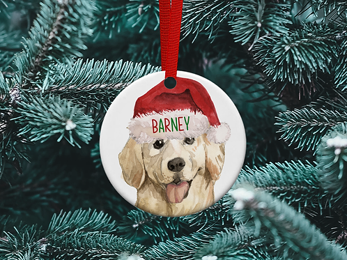 Golden Retriever Christmas Tree Ornament