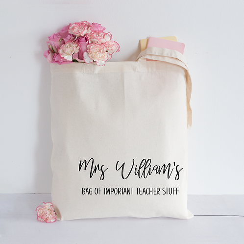 Important teacher stuff tote bag
