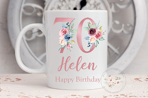 Pink Floral  Birthday Mug