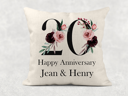20th Wedding Anniversary Cushion