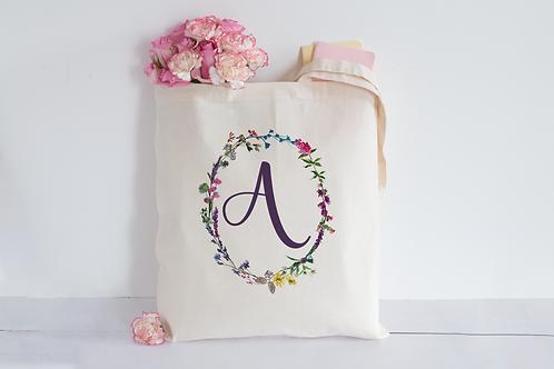 Floral initial Tote Bag