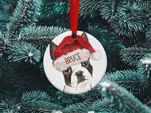 Boston Terrier Christmas Tree Ornament