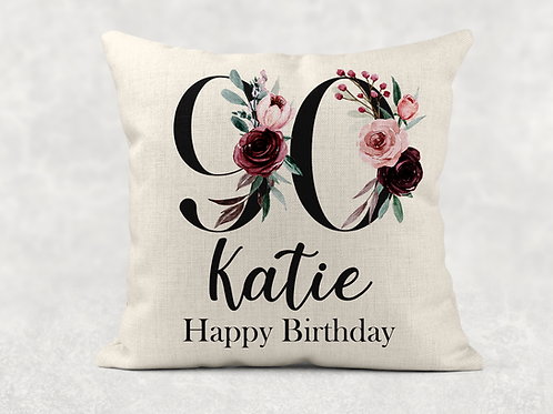 Floral 90th Birthday Cushion
