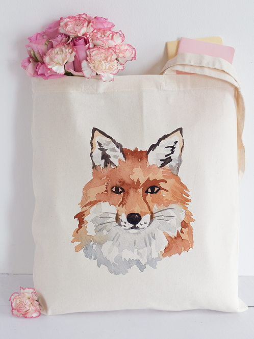 Watercolour fox Tote Bag
