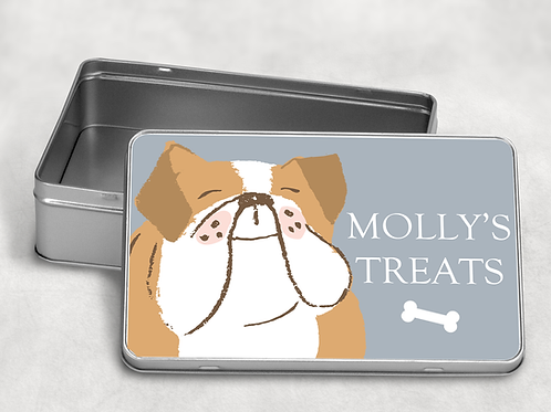 Bulldog  Dog Treat Tin