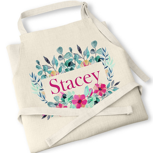 Personalised Floral Linen Apron