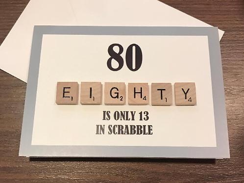 80th Scrabble Birthday Card