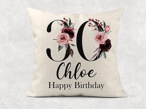 Floral 30th Birthday Cushion