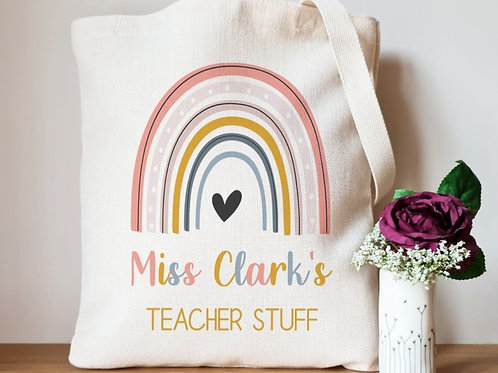 Linen Rainbow teacher stuff Tote Bag