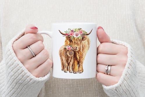 Floral Highland Cows Mug