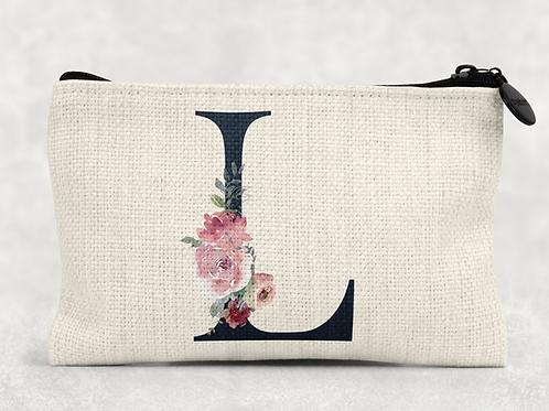 Navy Floral Initial Makeup Bag