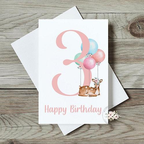 Deer 3rd Birthday Card