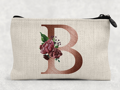 Rose Gold Floral Initial Makeup Bag