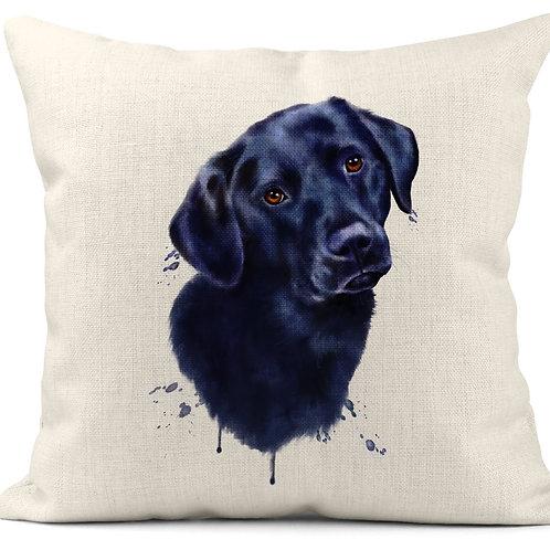 Watercolour Black Labrador Cushion