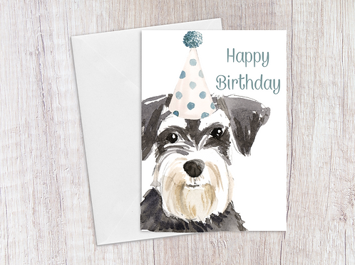 Schnauzer Birthday Card