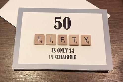 50th Scrabble Birthday Card