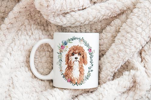 Dog floral frame mug