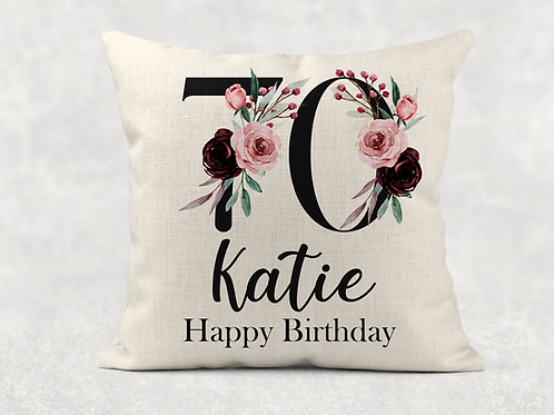 Floral 70th Birthday Cushion