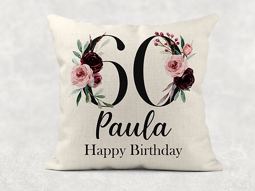 Floral 60th Birthday Cushion