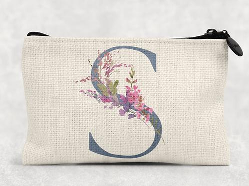 Floral Initial Makeup Bag
