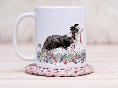 Border Collie Floral Wrap Mug