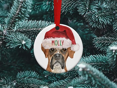 Boxer Christmas Tree Ornament