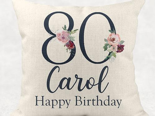 Floral 80th Birthday Cushion