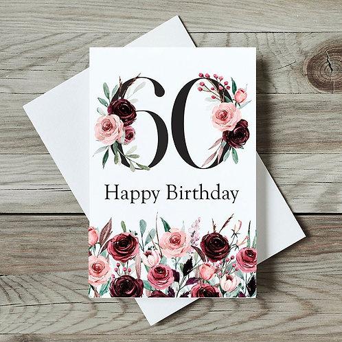 Floral 60th Birthday Card