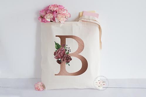Rose Gold Initial Tote Bag