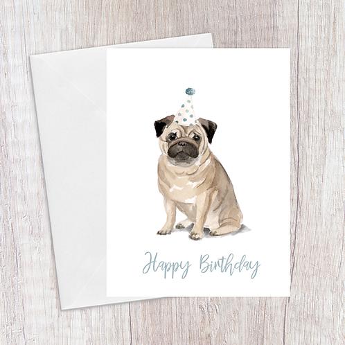 Pug Birthday Card