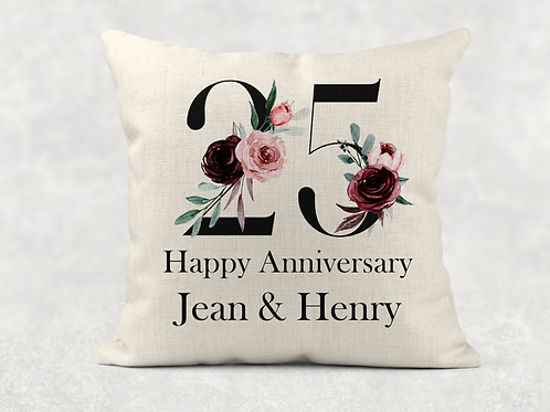 25th Wedding Anniversary Cushion