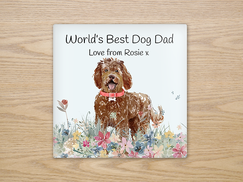 Labradoodle Glass Coaster