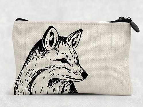 Sketched fox Makeup Bag