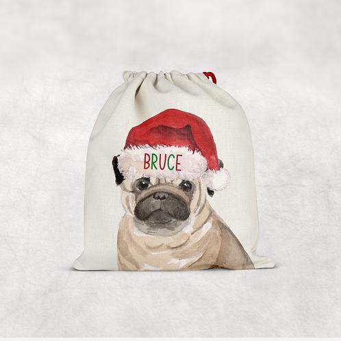 Pug Christmas Sack