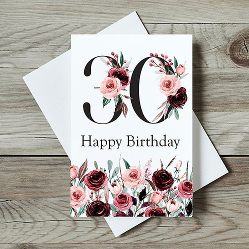Floral 30th Birthday Card