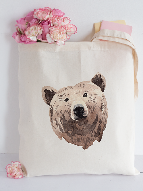 Watercolour Bear Tote Bag