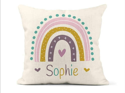 Personalised Bright Rainbow Cushion