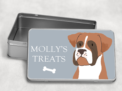 Boxer Dog Treat Tin