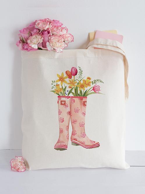 Floral wellington boots Tote Bag