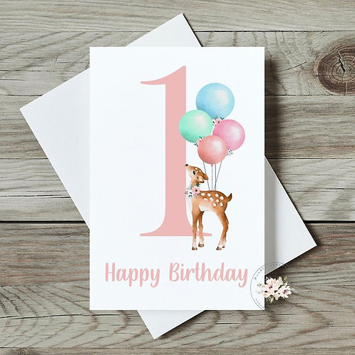 Deer 1st Birthday Card
