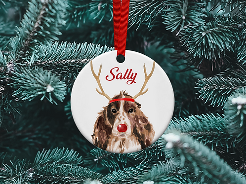 Spaniel Reindeer Christmas Tree Ornament