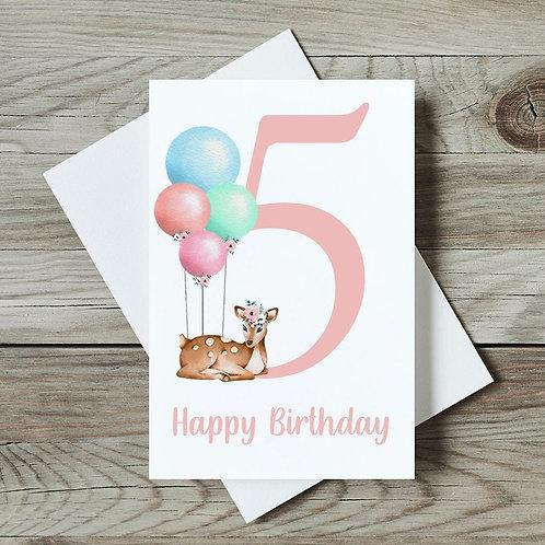 Deer 5th Birthday Card
