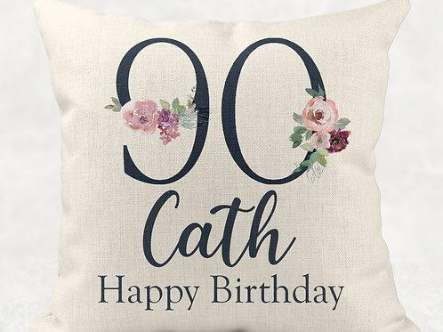 Floral 90th Birthday Cushion