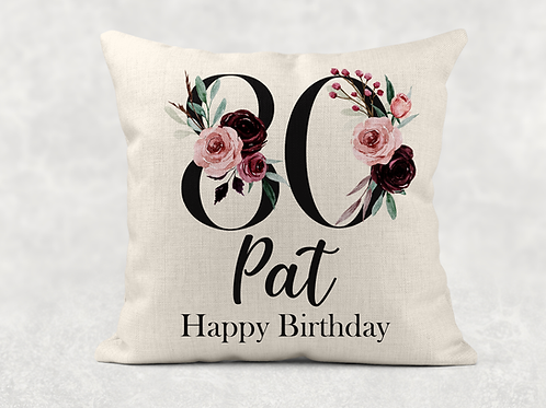 Floral 80th Birthday Cushion