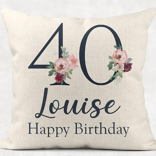 Floral 40th Birthday Cushion